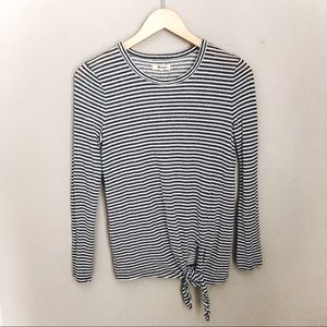Madewell Blue & White Striped Long Sleeve Tie Top